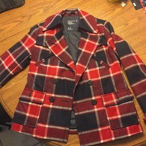 American Eagle plaid pea coat